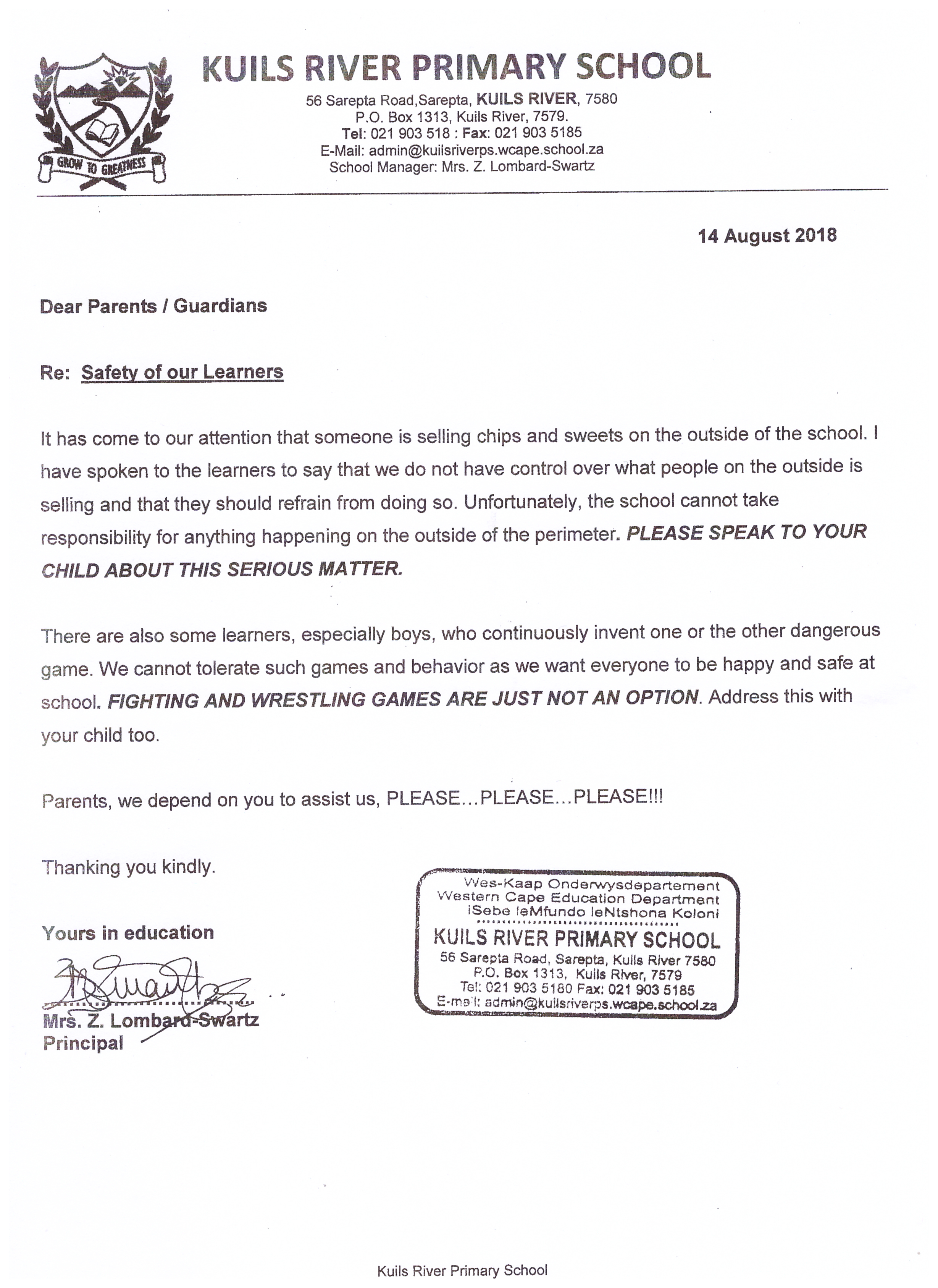 important-letter-safety-of-our-learners